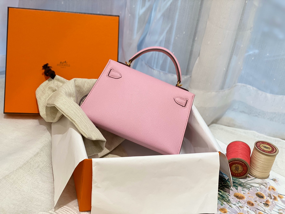 HERMES mini kelly 二代  X9 锦葵紫 金扣 百搭小包包